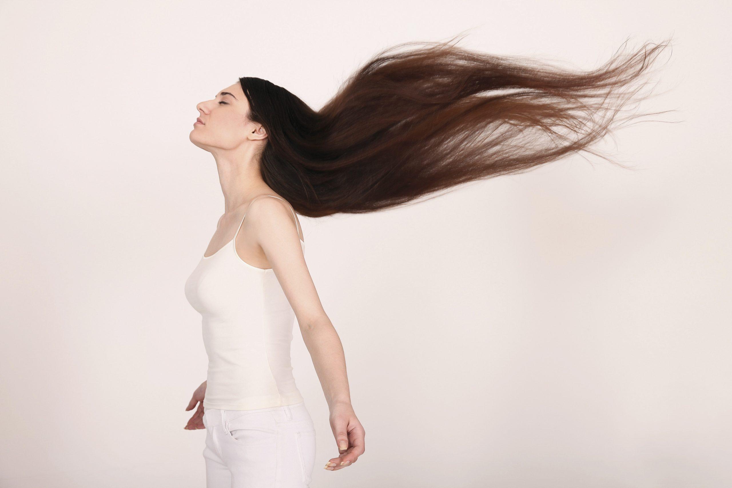 Healthy silky shiny hair
